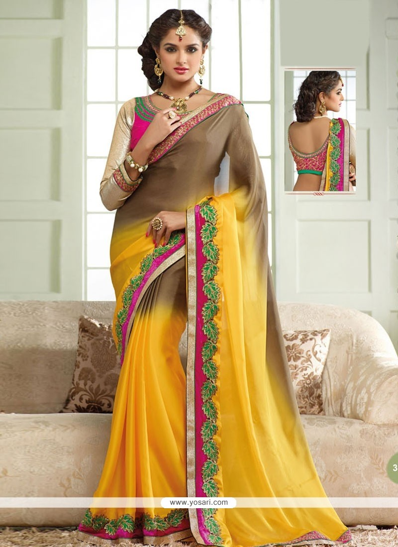 Radiant Brown And Yellow Georgette Saree