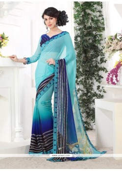 Zesty Blue Printed Saree