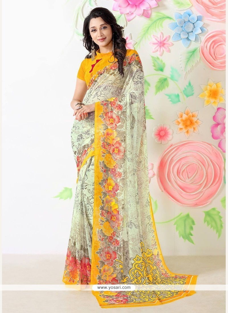 Impressive Print Work Multi Colour Casual Saree