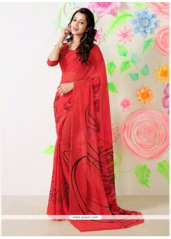 Angelic Faux Chiffon Red Casual Saree