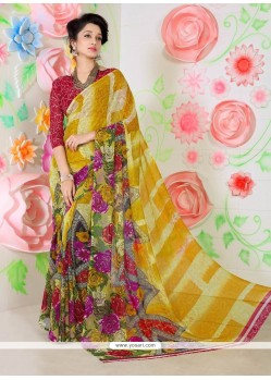 Glitzy Faux Chiffon Multi Colour Printed Saree