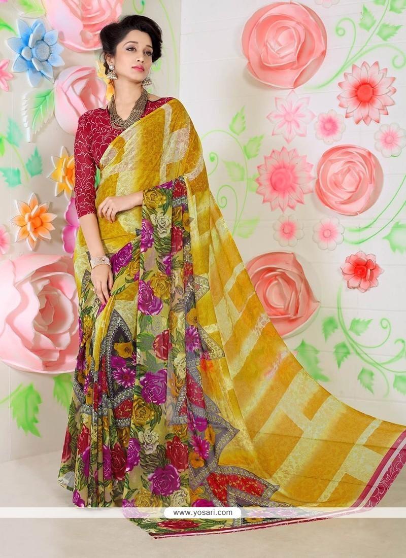 Glitzy Faux Chiffon Multi Colour Printed Saree