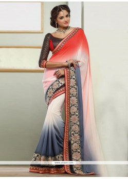 Pristine Grey And Red Georgette Designer Saree