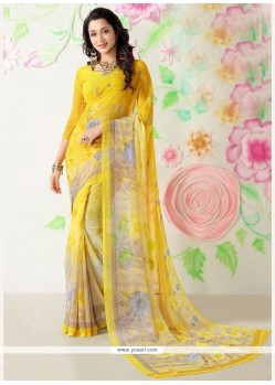 Energetic Yellow Faux Chiffon Casual Saree