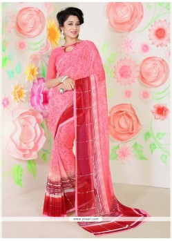 Transcendent Faux Chiffon Pink Print Work Casual Saree