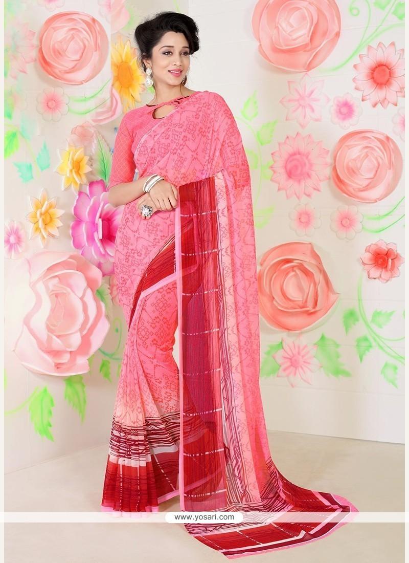 Transcendent Faux Chiffon Pink Print Work Casual Saree