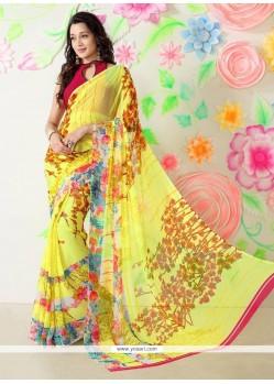 Magnetize Multi Colour Faux Chiffon Printed Saree