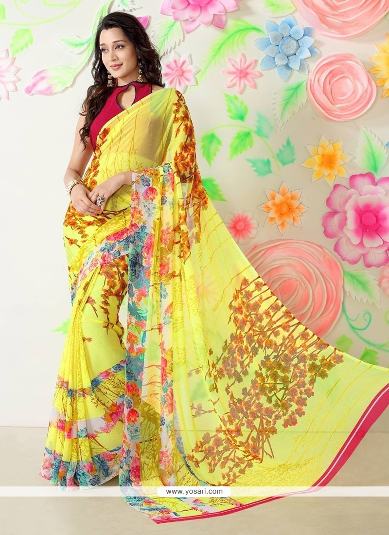 Magnetize Multi Colour Faux Chiffon Printed Saree