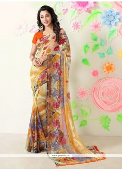 Glossy Print Work Multi Colour Casual Saree