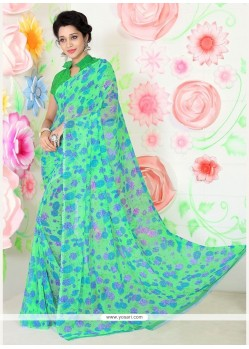 Ideal Faux Chiffon Sea Green Print Work Casual Saree