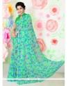 Ideal Faux Chiffon Sea Green Print Work Casual Saree