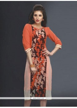 Versatile Print Work Party Wear Kurti