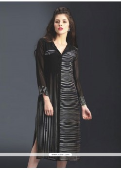 Print Georgette Party Wear Kurti In Black