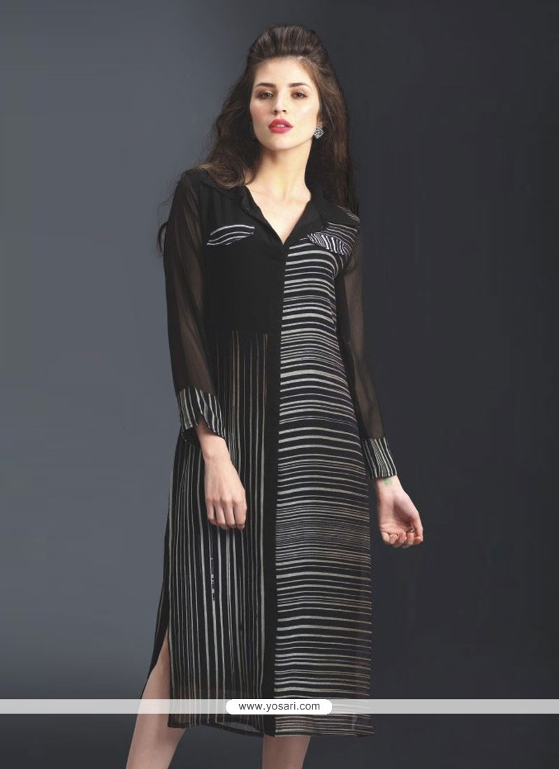 Print Georgette Party Wear Kurti In Black
