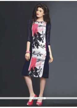 Print Georgette Party Wear Kurti In Navy Blue