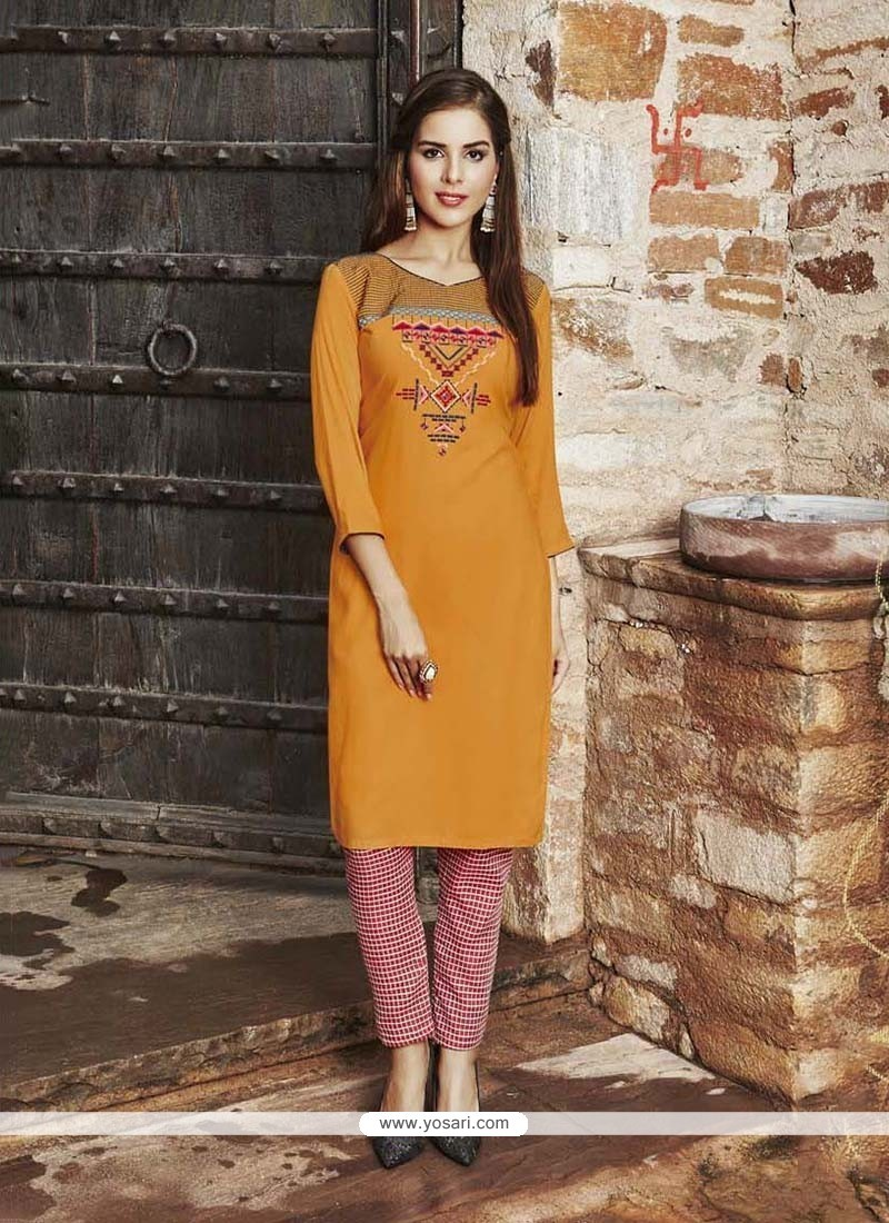 Sightly Embroidered Work Mustard Rayon Party Wear Kurti