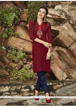 Mystic Embroidered Work Maroon Rayon Party Wear Kurti