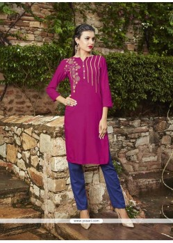 Sonorous Rayon Magenta Embroidered Work Party Wear Kurti