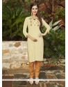 Delightsome Embroidered Work Rayon Beige Party Wear Kurti