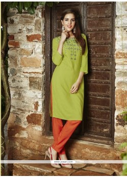 Peppy Green Rayon Party Wear Kurti