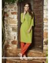 Peppy Green Rayon Party Wear Kurti