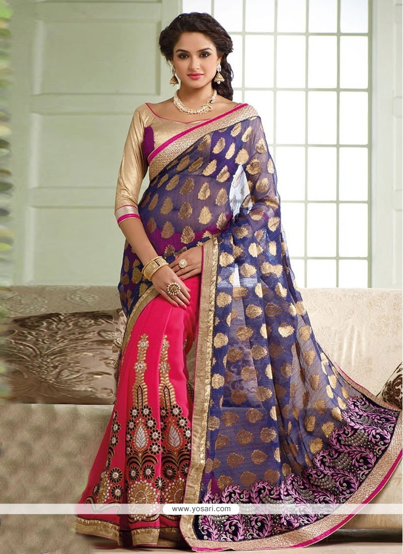 Pink And Blue Georgette Half And Half Saree
