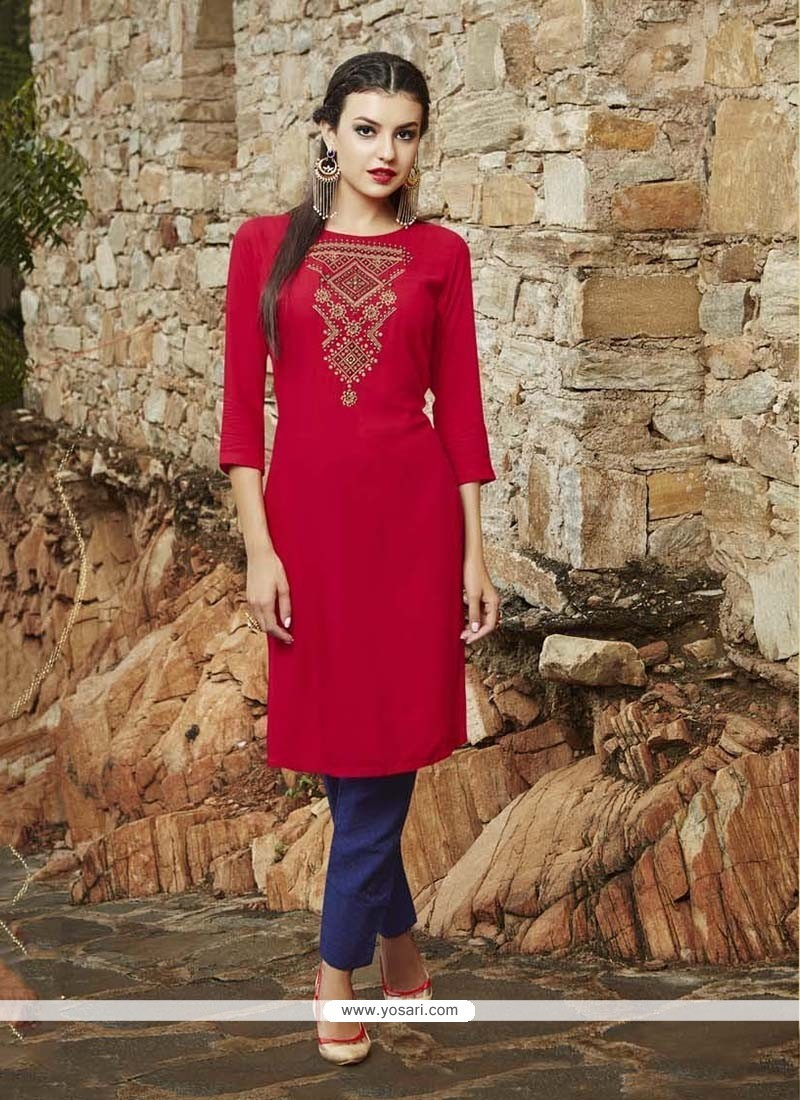 Perfect Embroidered Work Red Party Wear Kurti