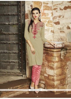 Beige Rayon Party Wear Kurti