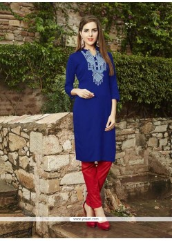Deserving Embroidered Work Blue Party Wear Kurti