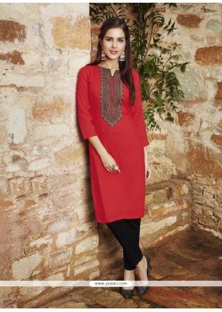Cute Embroidered Work Rayon Party Wear Kurti