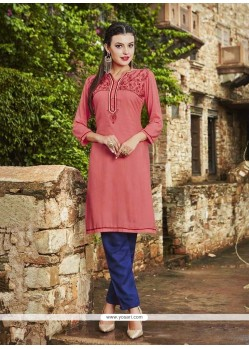 Magnificent Rayon Pink Embroidered Work Party Wear Kurti