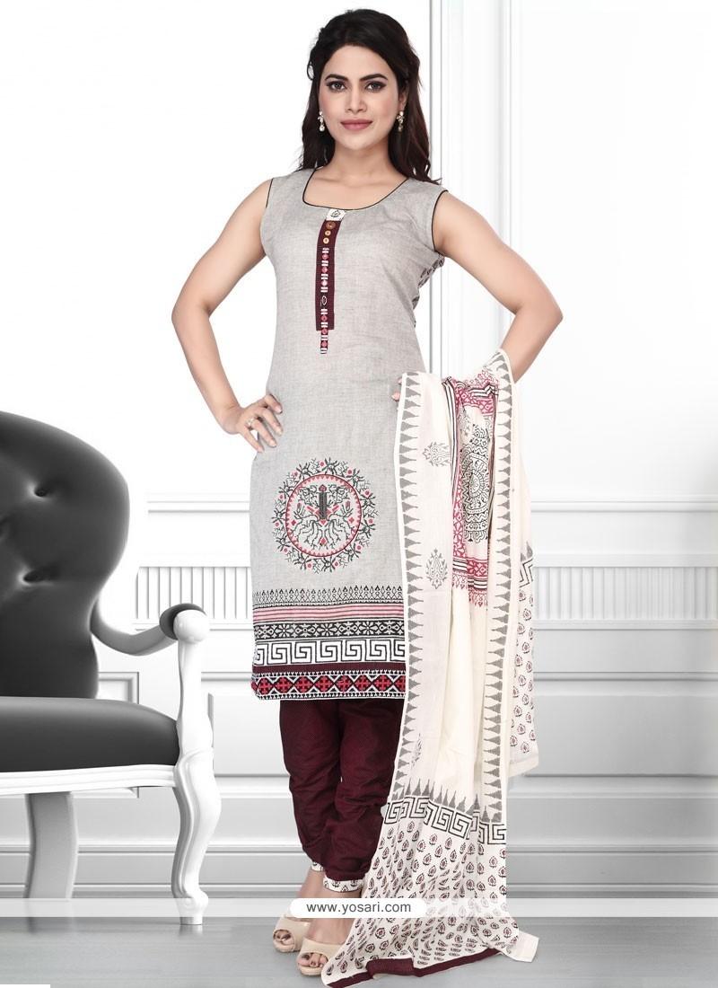 Aristocratic Print Work Cotton Churidar Designer Suit