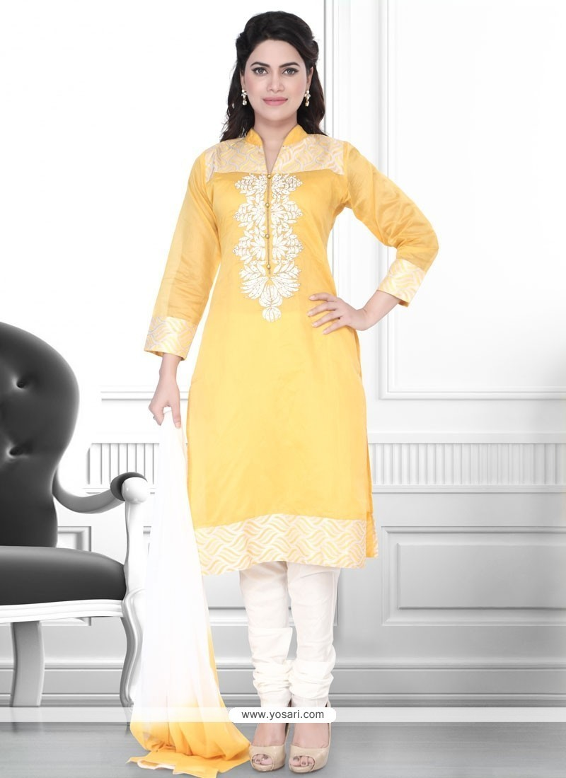 Angelic Yellow Art Silk Churidar Designer Suit