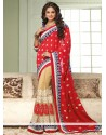 Beige And Red Georgette Saree