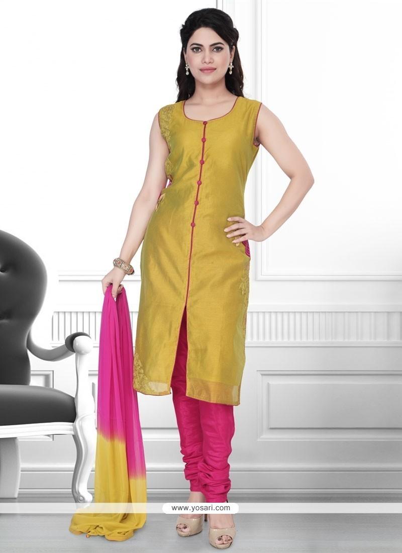 Green Art Silk Churidar Designer Suit