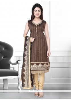 Awesome Patch Border Work Art Silk Churidar Designer Suit