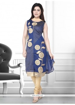 Peppy Navy Blue Churidar Designer Suit