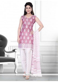 Gleaming Cotton Rose Pink Pant Style Suit