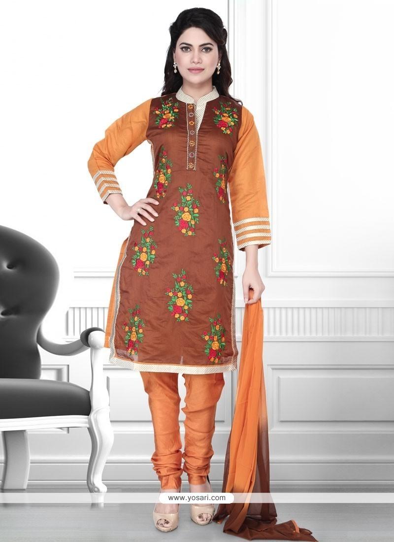 Sparkling Resham Work Art Silk Churidar Designer Suit