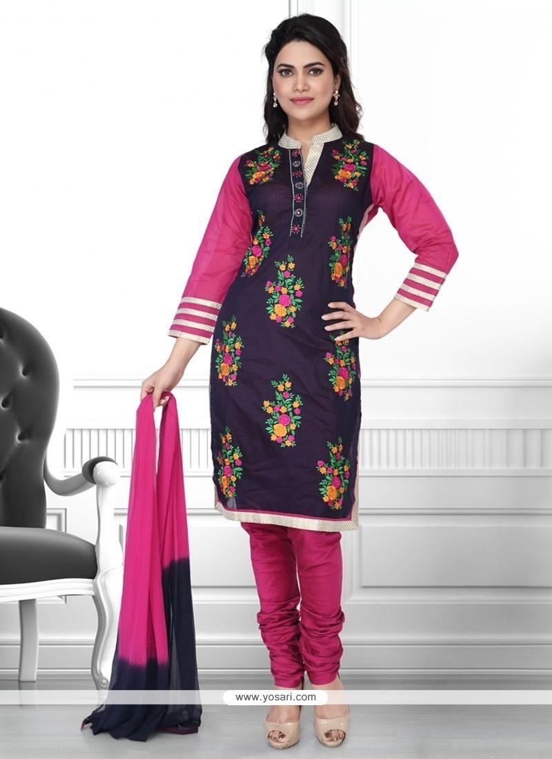 Exceptional Embroidered Work Churidar Designer Suit