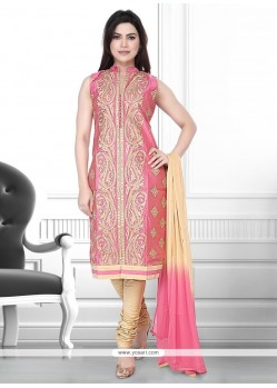 Delightsome Peach Embroidered Work Art Silk Churidar Designer Suit