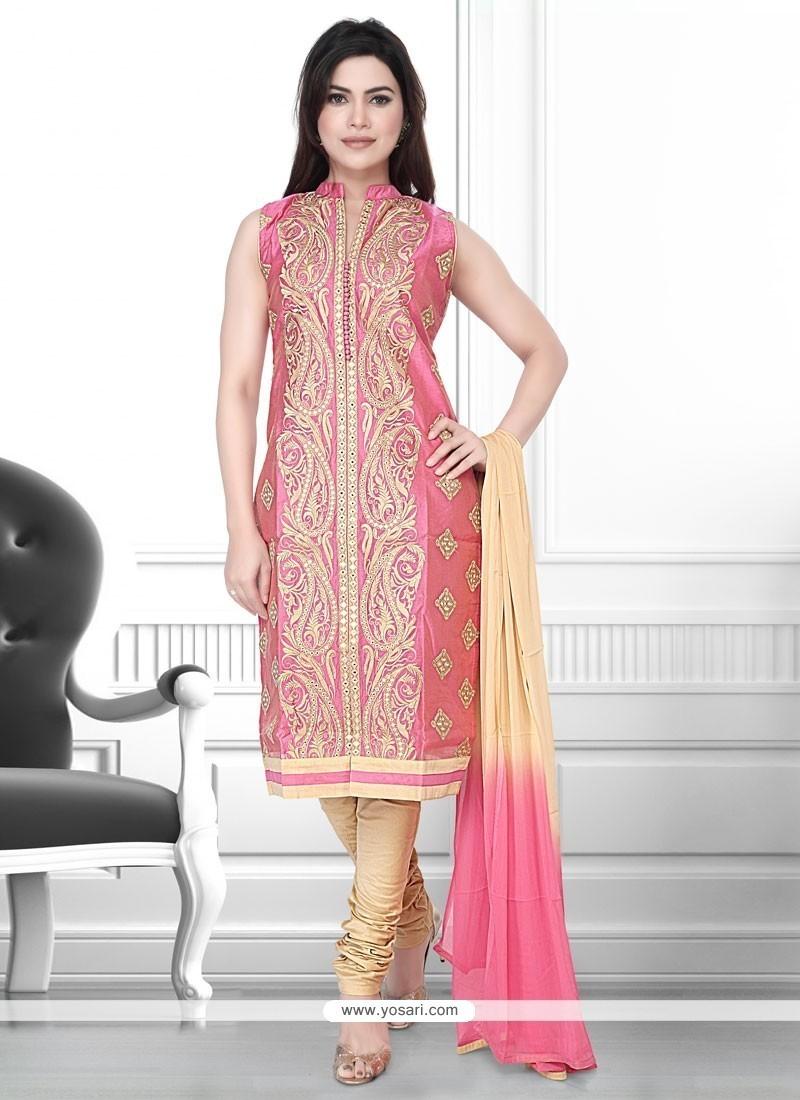 Delightsome Peach Embroidered Work Art Silk Churidar Designer Suit