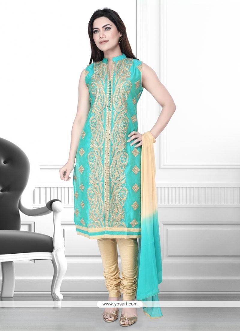 Beautiful Art Silk Zari Work Churidar Designer Suit