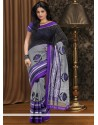 Grey And Black Chanderi Cotton Saree