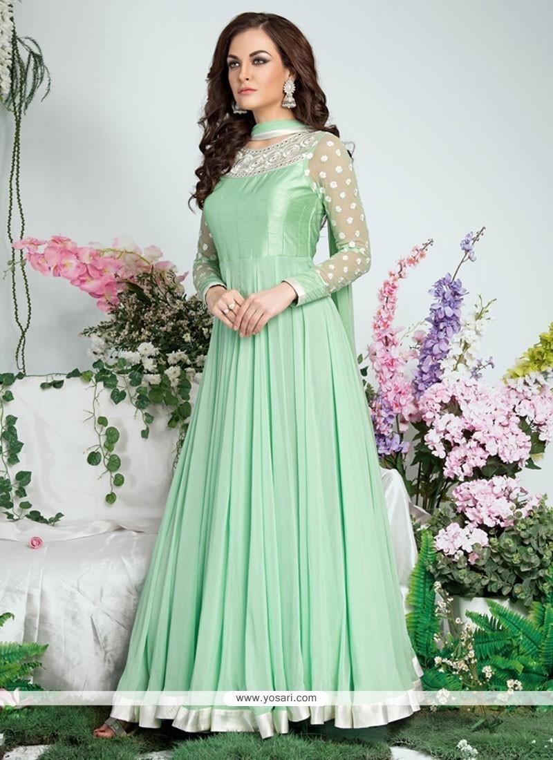 Urbane Embroidered Work Georgette Green Anarkali Salwar Suit