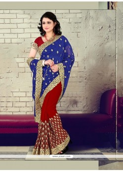 Princely Georgette Embroidered Work Traditional Saree
