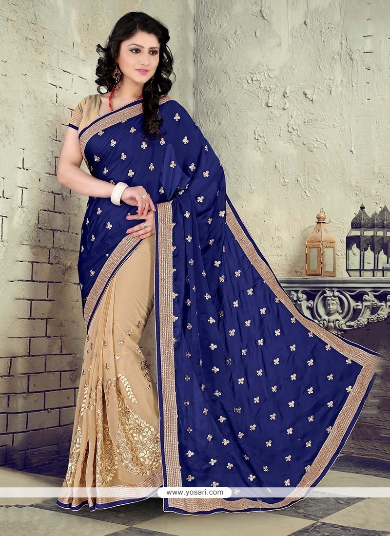 Heavenly Embroidered Work Beige Faux Chiffon Designer Saree