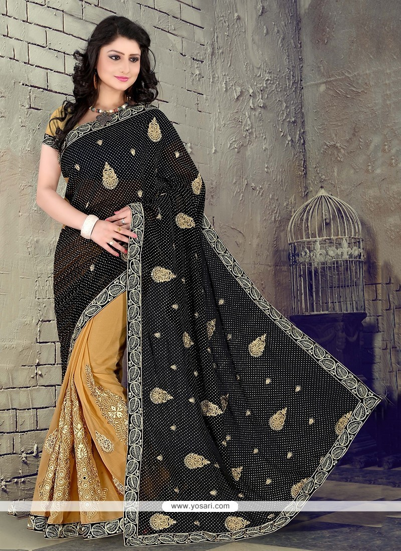 Transcendent Patch Border Work Beige Georgette Classic Saree