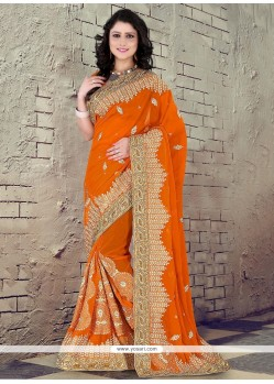 Glowing Georgette Yellow Classic Designer Saree