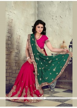 Glowing Faux Chiffon Hot Pink Designer Saree